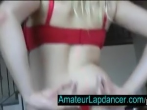 Blonde with huge tits does wild lapdance