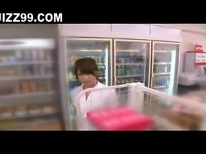 cute teen exposed blowjob in convenience store