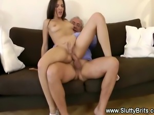 A naughty young whore fucks roughly an old senior guy