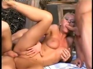 Swedish pornstar Sara getting two hard cocks at once
