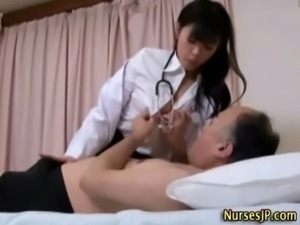 Sexy asian nurse gets her tits out free