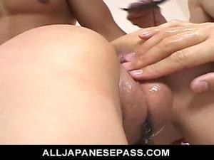 Naami Hasegawa has her beautiful big tits licked and sucked while she was...
