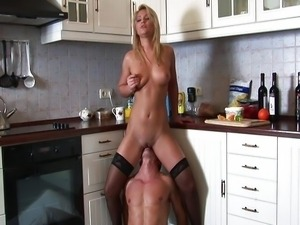 In the kitchen with a beautiful blonde Lana
