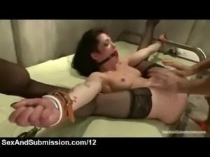 Gagged bound babe fisted and fucked free