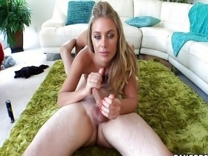 Hot blonde jerks him off - Bang Bros