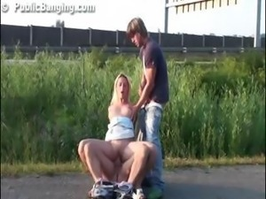 Public group sex with a hot pretty girl in broad daylight blowjob and...