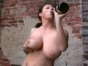 Crazy milf drinks champagne & nails herself by it