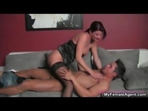 Horny female boss abusing a lucky guy part5