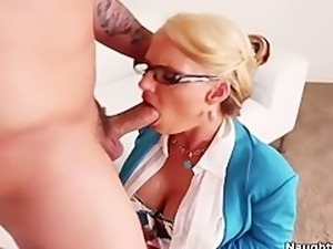 Busty Blonde Phoenix Marie motivates her employee by sucking and fucking