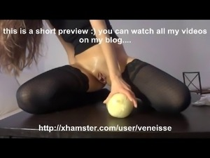 Veneisse bizzarre insertions with 3 apples and giant cheese