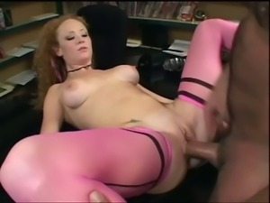 Big tits red head temptress steamy pussy bashing in video store