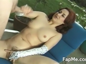 Cum starving red head slut jerking cock outdoors