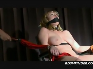 Big tit blonde bound up whipped and made to orgasm