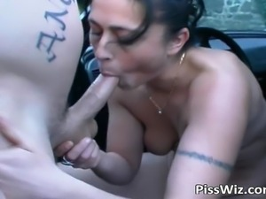 Crazy slut getting fucked outdoors