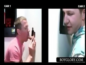 Gloryhole gay blowjob to straight dude