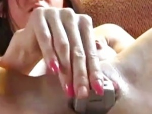 Sexy girl masturbate with phone