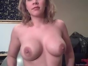 Busty amateur girl giving head. Tits cumshot
