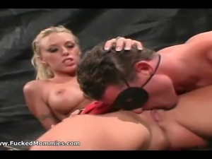 Naughty blonde mommy with big knockers gives blowjob and gets fucked by a...