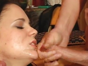 Threesome assfucking for this black-haired bitch