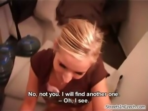 Cute blonde amateur girl swallows cum part5