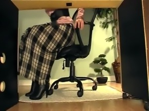 Secretary with boots under desk masturbation video free