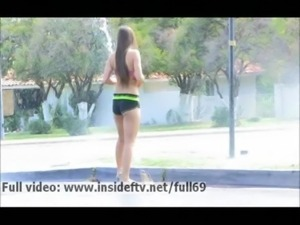 Abigail   Sporty amateur babe showing us her sexy body in public outdoors free