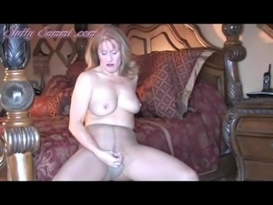 Pantyhose Slutty Sammi On Her Four Poster Bed