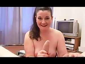 Real chubby raven is wanking dick