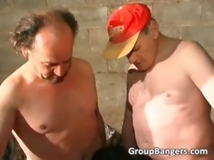Outdoor group sex with horny mature slut