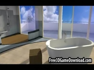Beautiful 3d cartoon babe with long brown hair being touched free