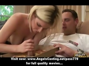 Stunning adorable blonde girl with natural tits doing blowjob
