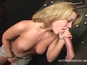 Hot Blonde milf gloryhole blowjob