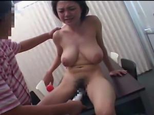 Big tit Japanese MILF strips and fucks