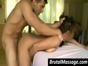 Nasty chick gets fucked by masseur free