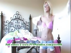 Tiffany adorable blonde babe getting naked and posing