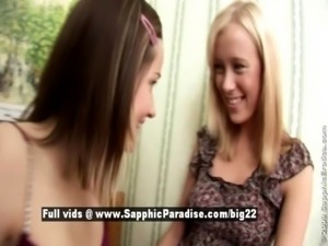 Ashlie and Dorothee lesbo sexy girls kissing and teasing free
