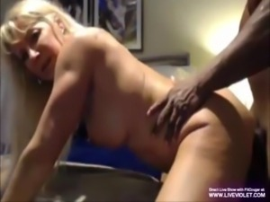 Mature blonde Cougar fucks with a big black guy free