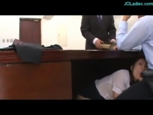 Office Lady Sucking Guy On The Couch And Under The Desk In The Office free