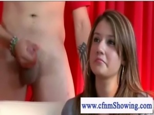 Young cfnm girls first time watching a jerk off and fuck session free