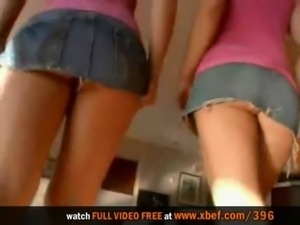Cute lesbian teens get their sweet holes pounded free
