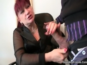 Office lady pleases two cocks free