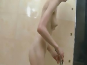 Russian super skinny chick in the shower