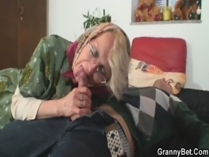 Lonely granny pleases a stranger free