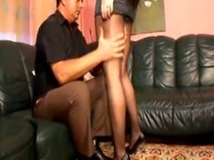 Pantyhose lady works that cock all the way free
