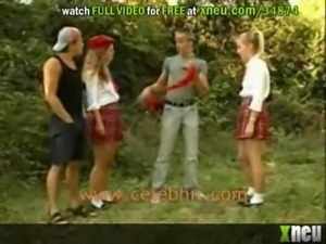 Slutty Blonde Teens Get Fucked And Facialized In An Outdoor Orgy free