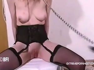 A thin wooden cane make her skinny ass completely red. This extremely...