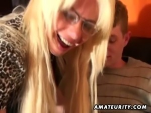 Young amateur guy enjoys a naughty busty Milf at home free