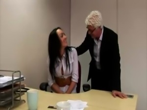 British CFNM office pervert checks out new girl free