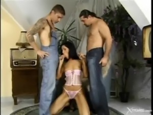 Sexy Brunette Gets A Hot DP Action free