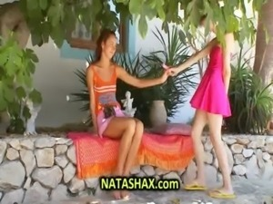 Natasha Shy and gf toying in garden on lazy afternoon free